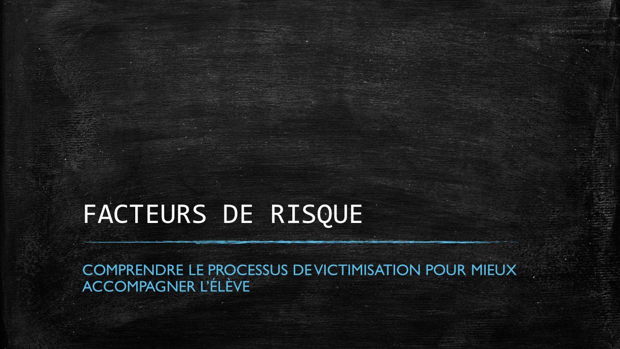 FACTEURS DE RISQUE France. Maintenant, nous allons voir les différents facteurs de prédispositions chez les élèves victime d'intimidation.