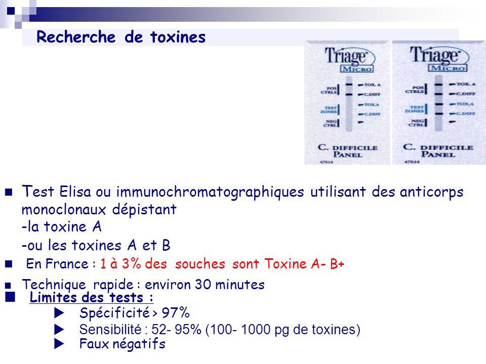 En France : 1 à 3% des souches sont Toxine A- B+