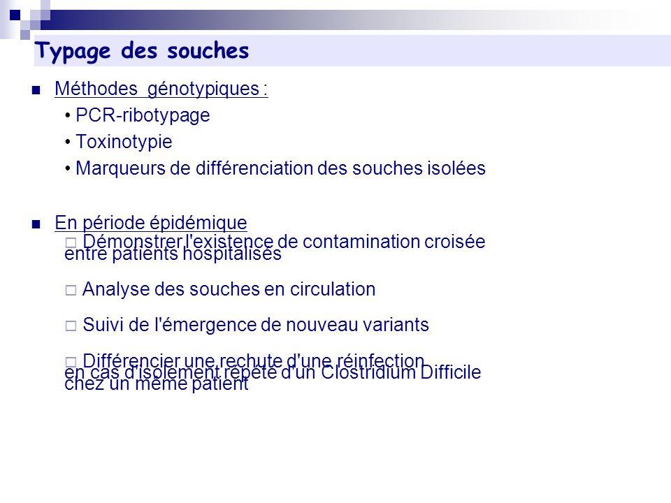 Typage des souches Méthodes génotypiques : PCR-ribotypage Toxinotypie