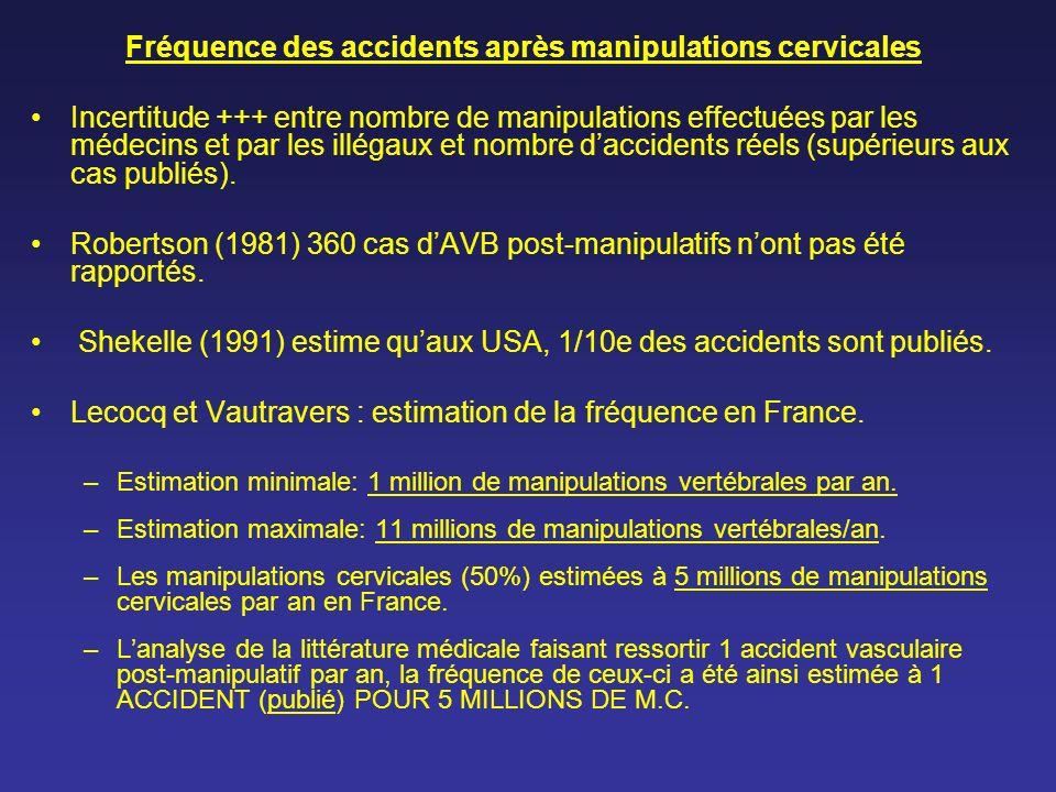 Fréquence des accidents après manipulations cervicales