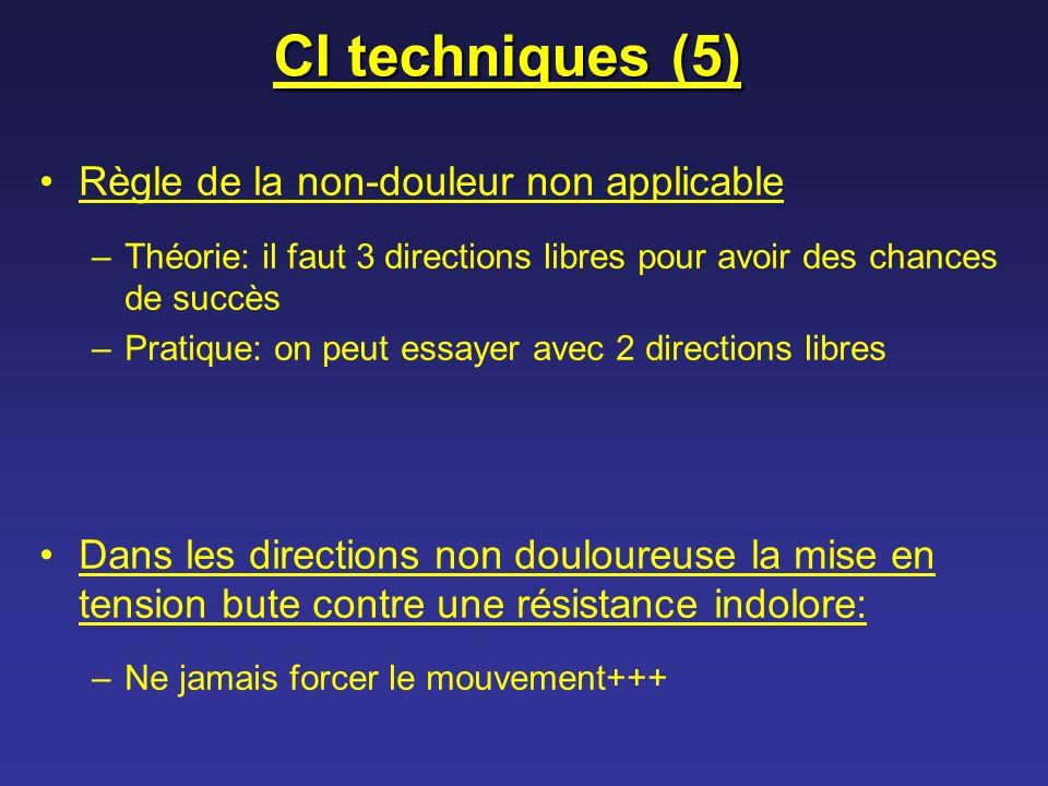 CI techniques (5) Règle de la non-douleur non applicable