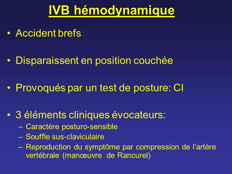 IVB hémodynamique Accident brefs Disparaissent en position couchée