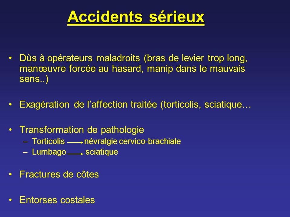 Accidents sérieux Dùs à opérateurs maladroits (bras de levier trop long, manœuvre forcée au hasard, manip dans le mauvais sens..)