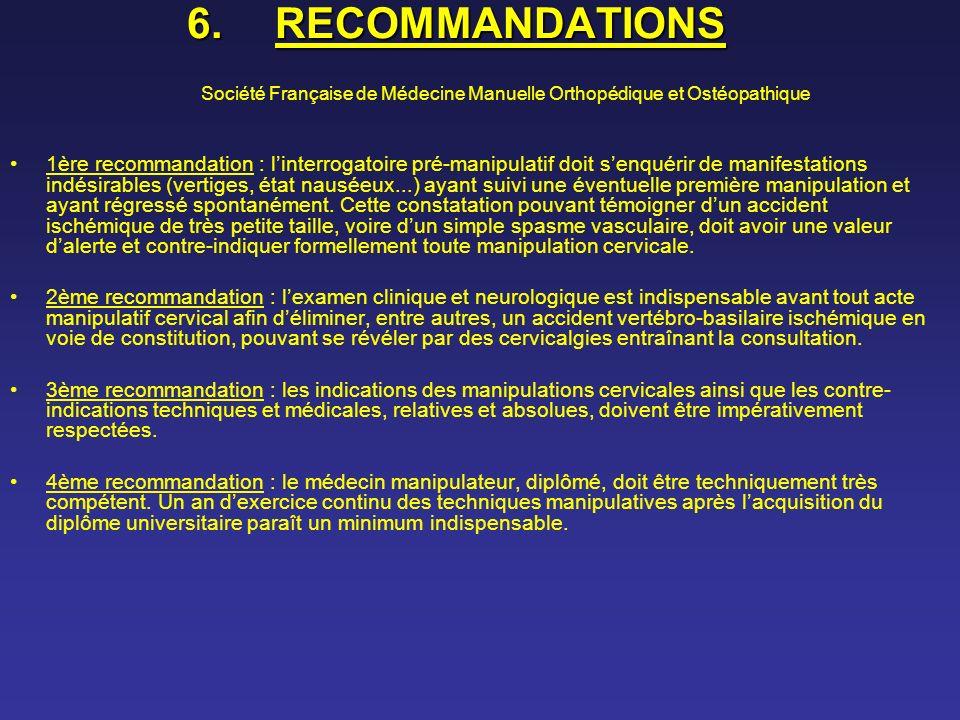 RECOMMANDATIONS Société Française de Médecine Manuelle Orthopédique et Ostéopathique