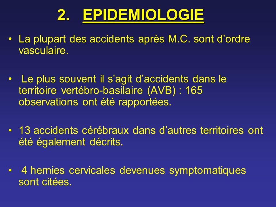 EPIDEMIOLOGIE La plupart des accidents après M.C. sont d'ordre vasculaire.