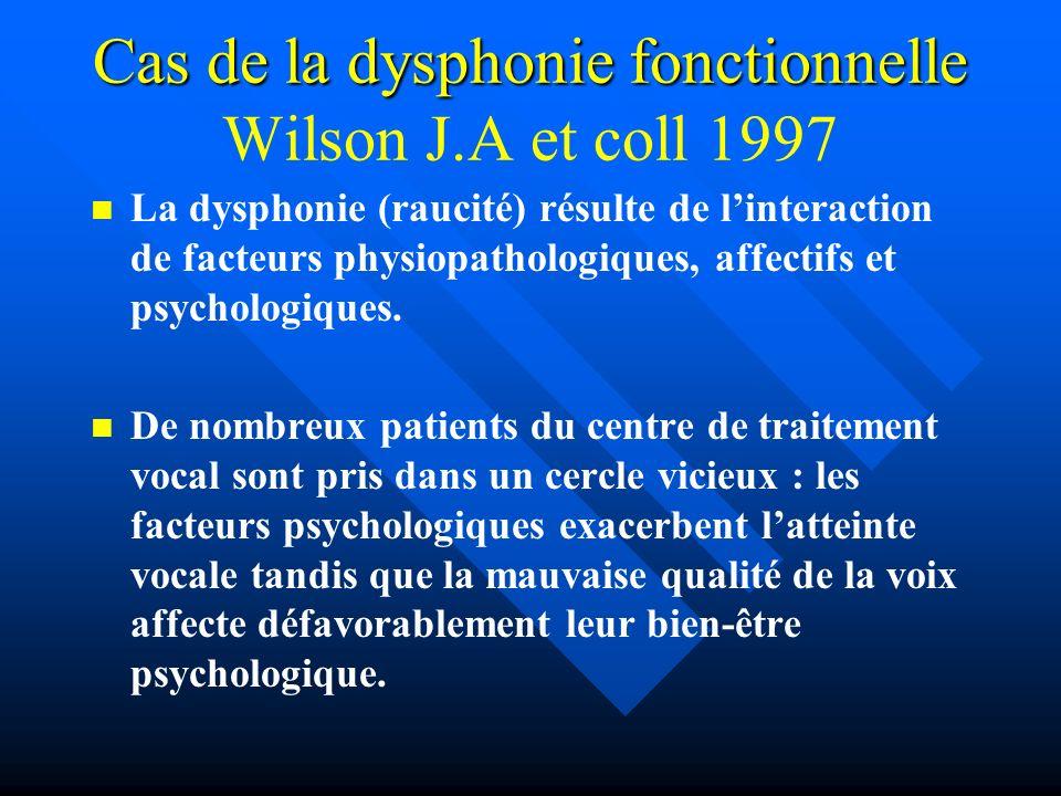 Cas de la dysphonie fonctionnelle Wilson J.A et coll 1997