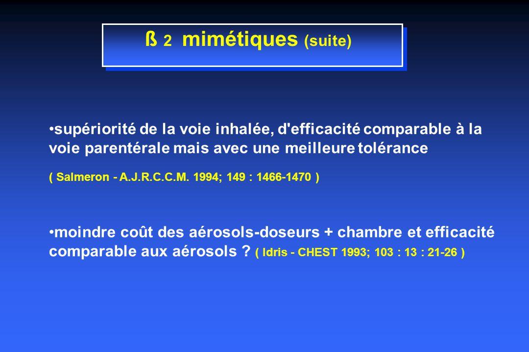ß 2 mimétiques (suite) supériorité de la voie inhalée, d efficacité comparable à la voie parentérale mais avec une meilleure tolérance.