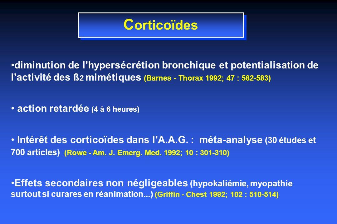 Corticoïdes diminution de l hypersécrétion bronchique et potentialisation de l activité des ß2 mimétiques (Barnes - Thorax 1992; 47 : 582-583)