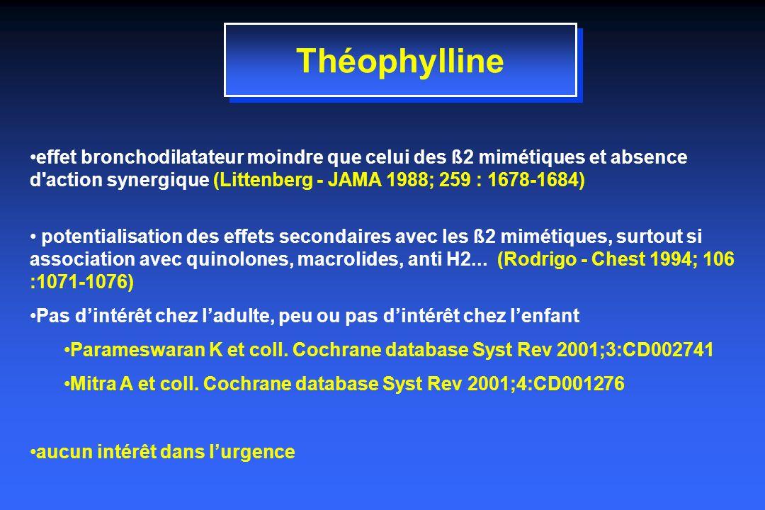 Théophylline effet bronchodilatateur moindre que celui des ß2 mimétiques et absence d action synergique (Littenberg - JAMA 1988; 259 : 1678-1684)