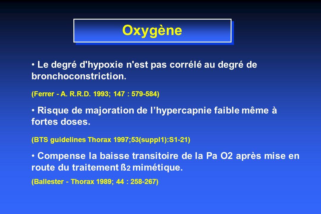Oxygène Le degré d hypoxie n est pas corrélé au degré de bronchoconstriction. (Ferrer - A. R.R.D. 1993; 147 : 579-584)