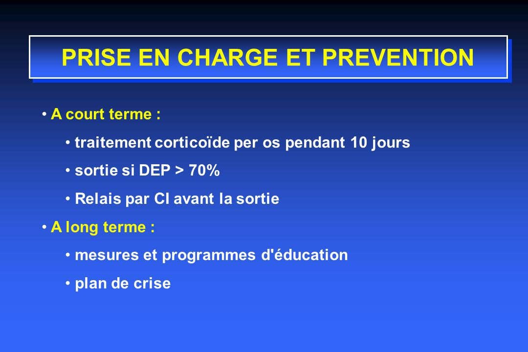 PRISE EN CHARGE ET PREVENTION