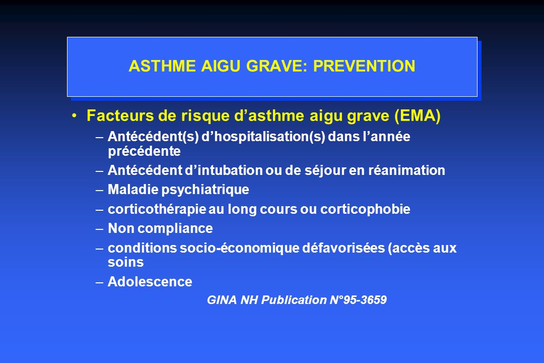 ASTHME AIGU GRAVE: PREVENTION