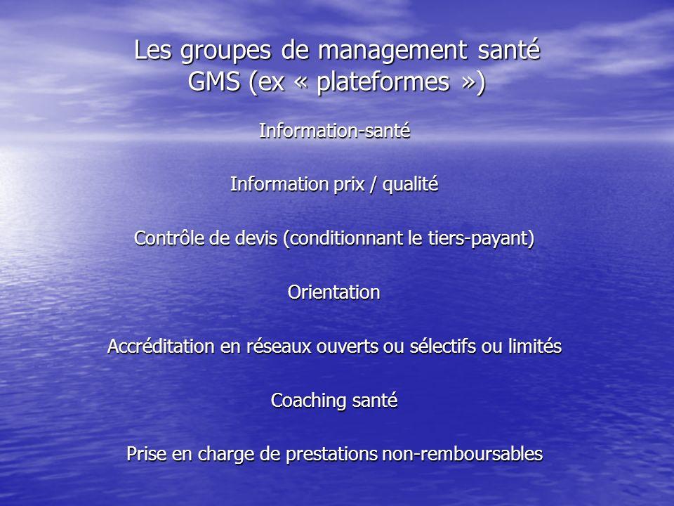 Les groupes de management santé GMS (ex « plateformes »)