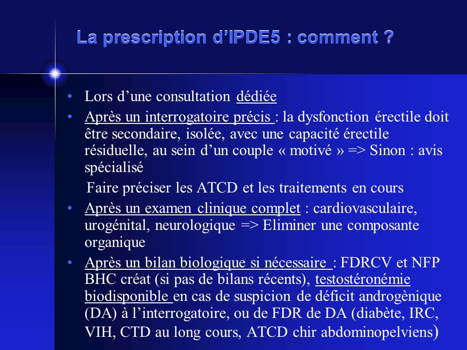 La prescription d'IPDE5 : comment
