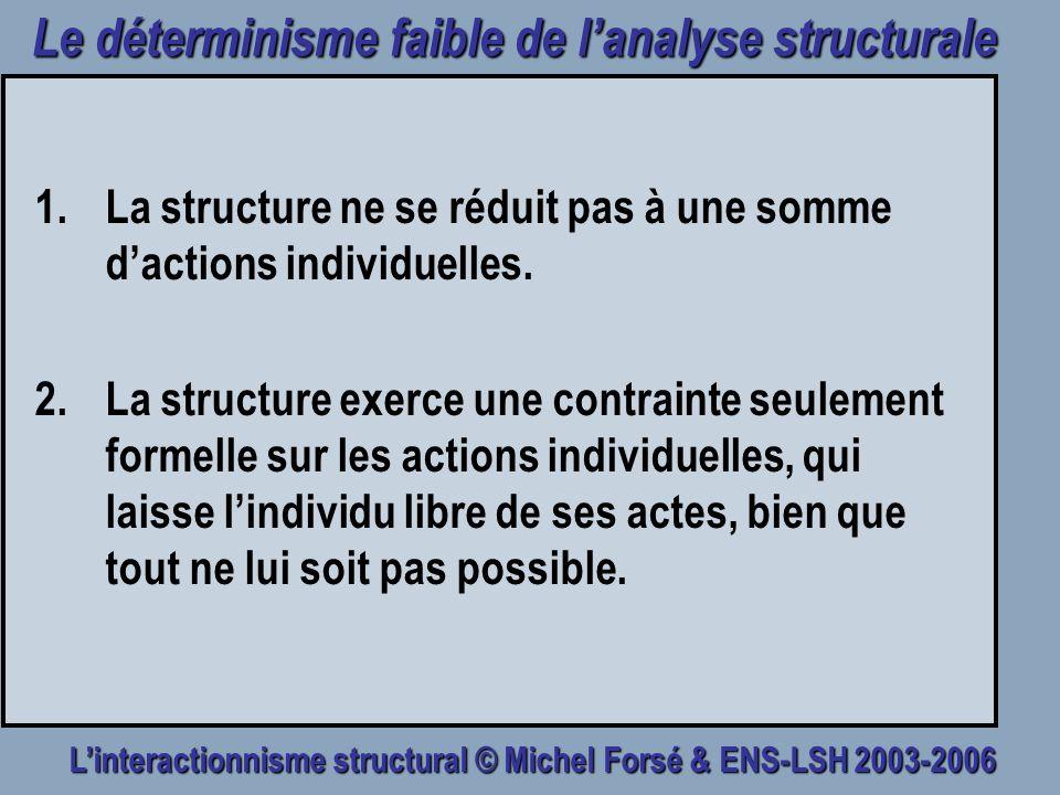 Le déterminisme faible de l'analyse structurale