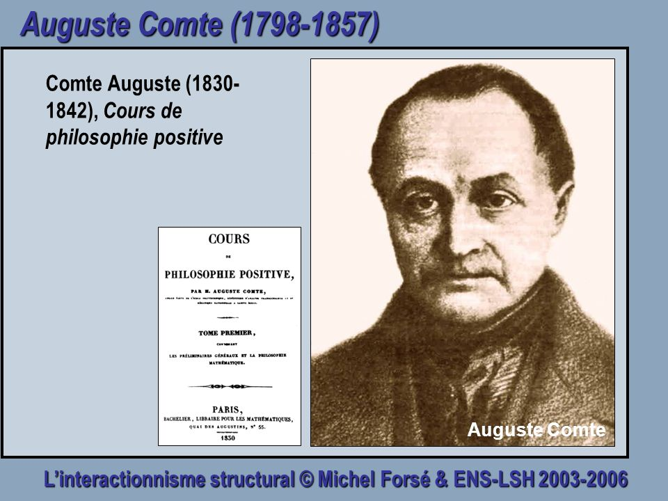 Auguste Comte (1798-1857) Comte Auguste (1830-1842), Cours de philosophie positive Auguste Comte