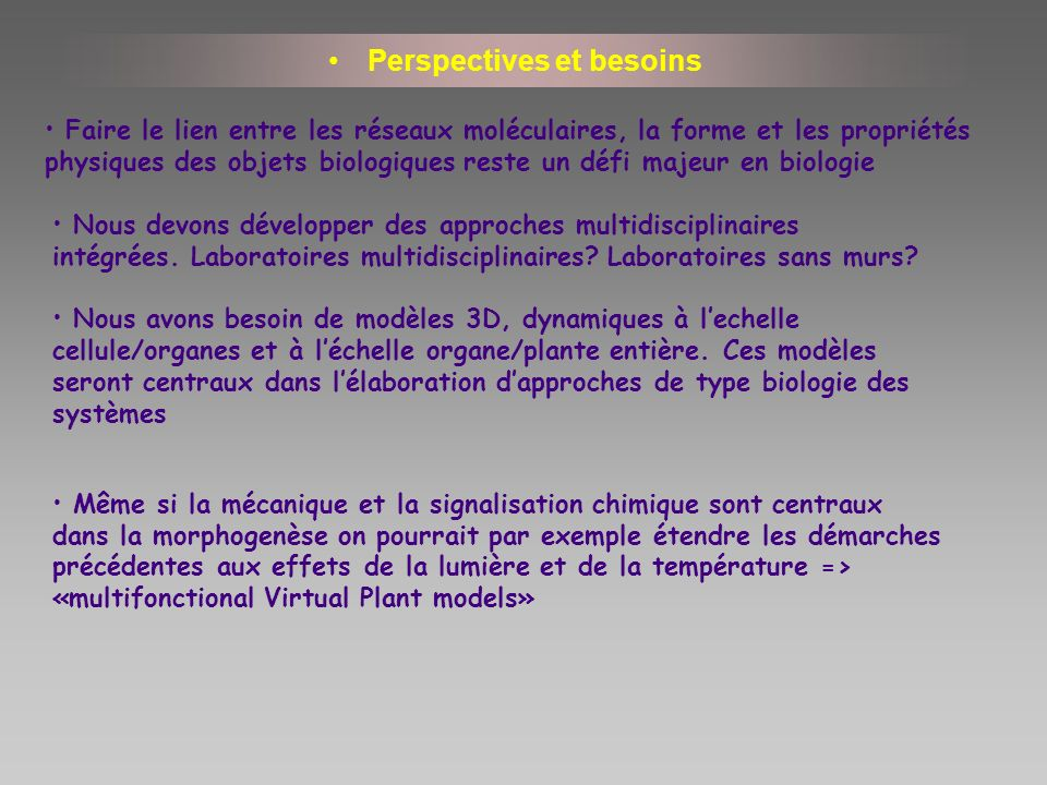 Perspectives et besoins