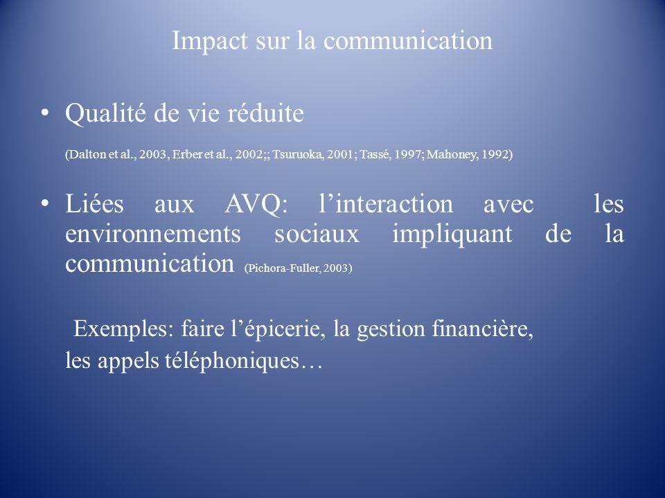 Impact sur la communication