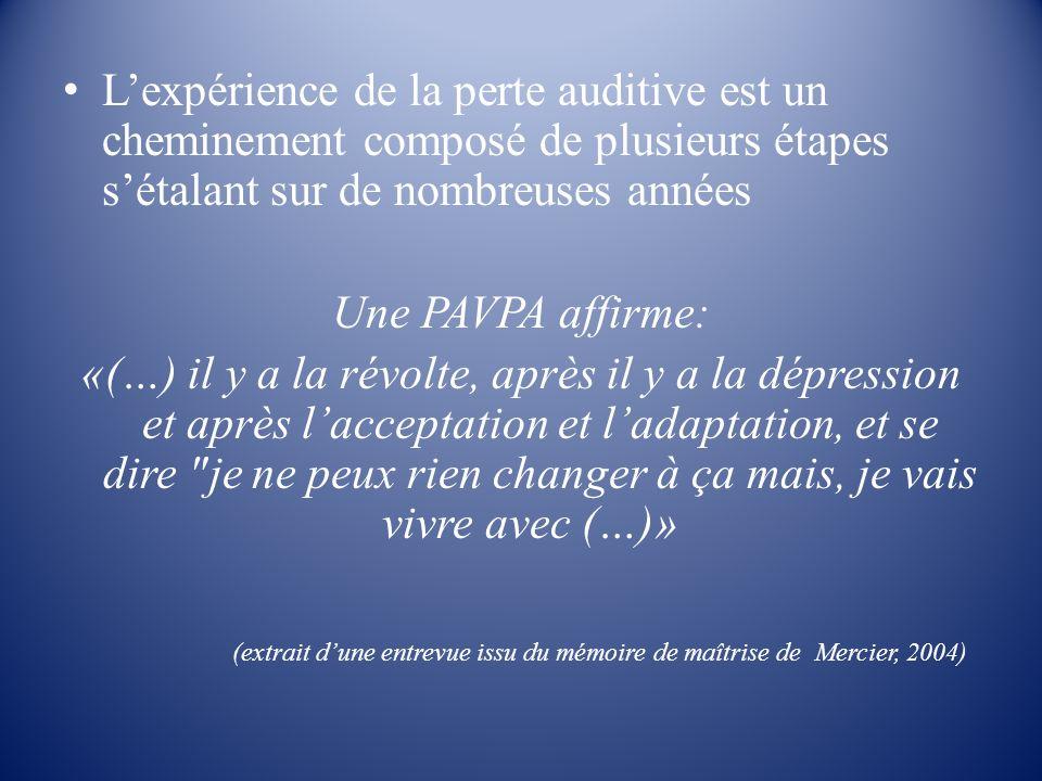(extrait d'une entrevue issu du mémoire de maîtrise de Mercier, 2004)