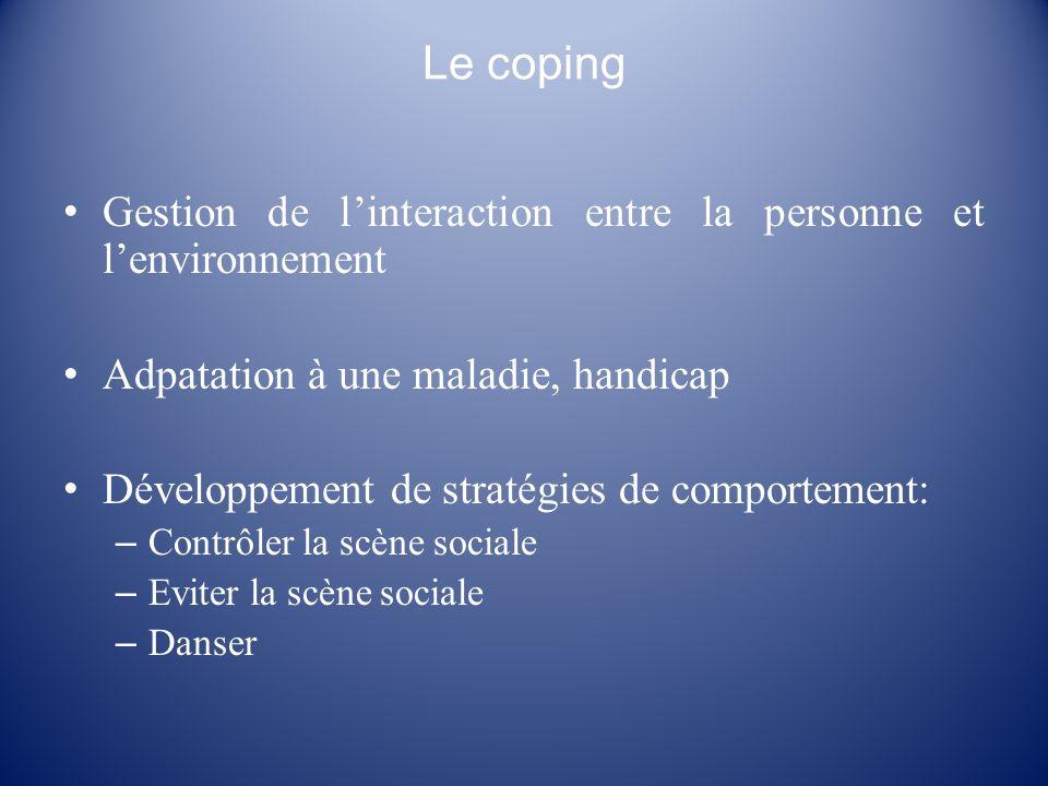 Le coping Gestion de l'interaction entre la personne et l'environnement. Adpatation à une maladie, handicap.