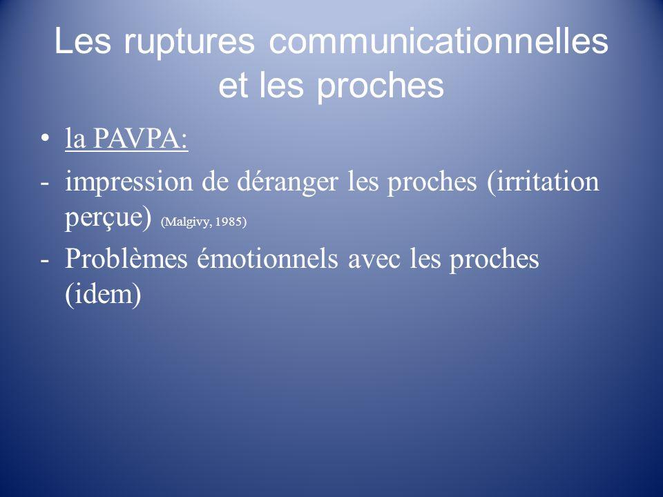Les ruptures communicationnelles et les proches