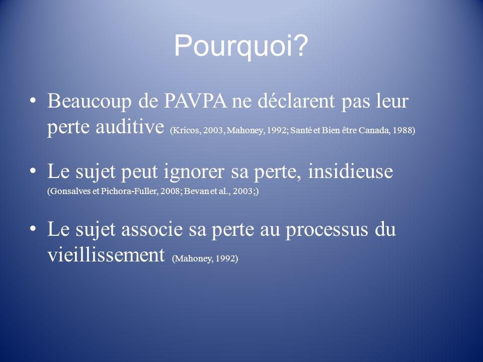 Pourquoi Beaucoup de PAVPA ne déclarent pas leur perte auditive (Kricos, 2003, Mahoney, 1992; Santé et Bien être Canada, 1988)