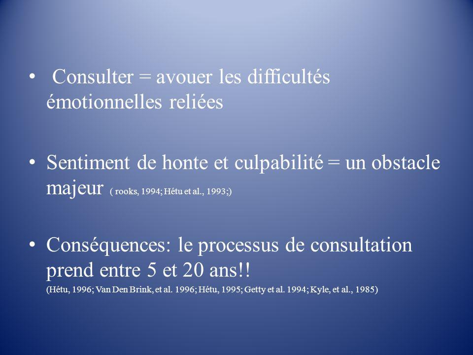 Consulter = avouer les difficultés émotionnelles reliées