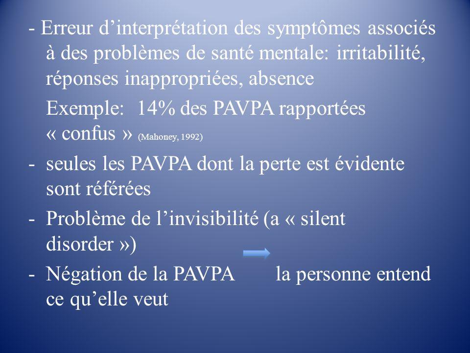 Exemple: 14% des PAVPA rapportées « confus » (Mahoney, 1992)