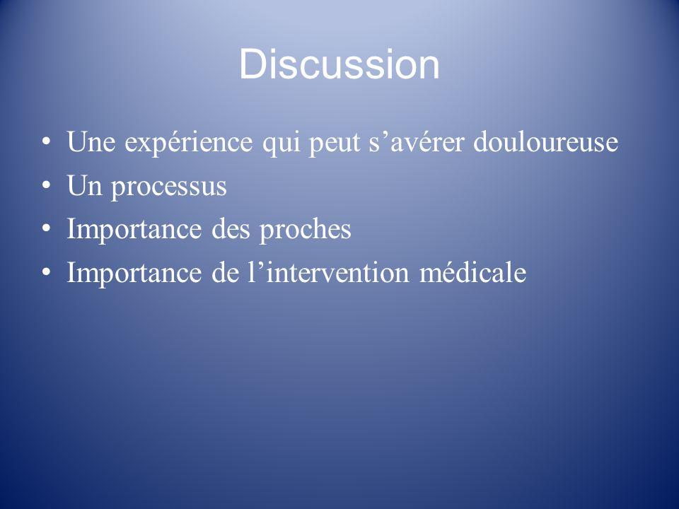 Discussion Une expérience qui peut s'avérer douloureuse Un processus