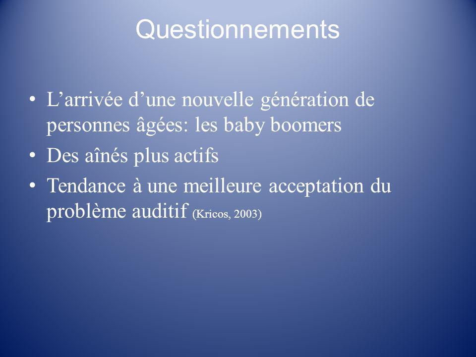 Questionnements L'arrivée d'une nouvelle génération de personnes âgées: les baby boomers. Des aînés plus actifs.