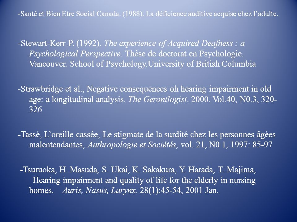 -Santé et Bien Etre Social Canada. (1988)