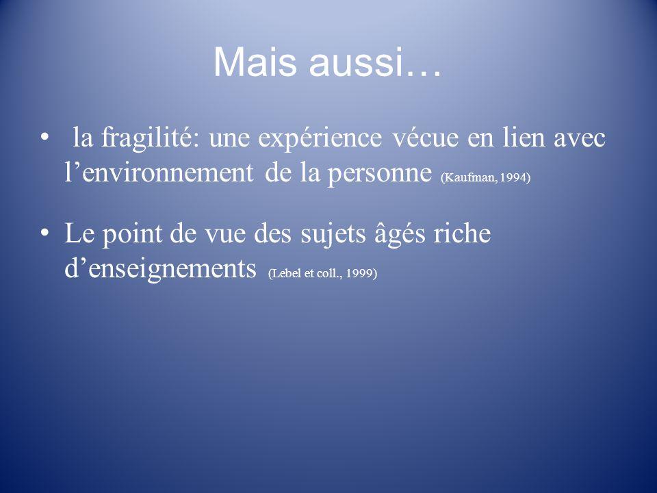 Mais aussi… la fragilité: une expérience vécue en lien avec l'environnement de la personne (Kaufman, 1994)