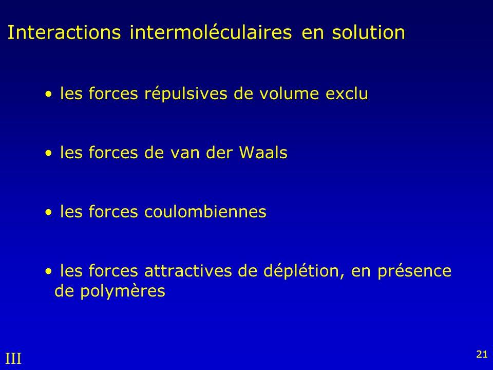 Interactions intermoléculaires en solution