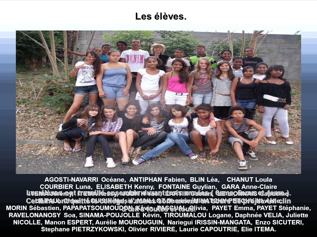 Les élèves. AGOSTI-NAVARRI Océane, ANTIPHAN Fabien, BLIN Léa, CHANUT Loula.