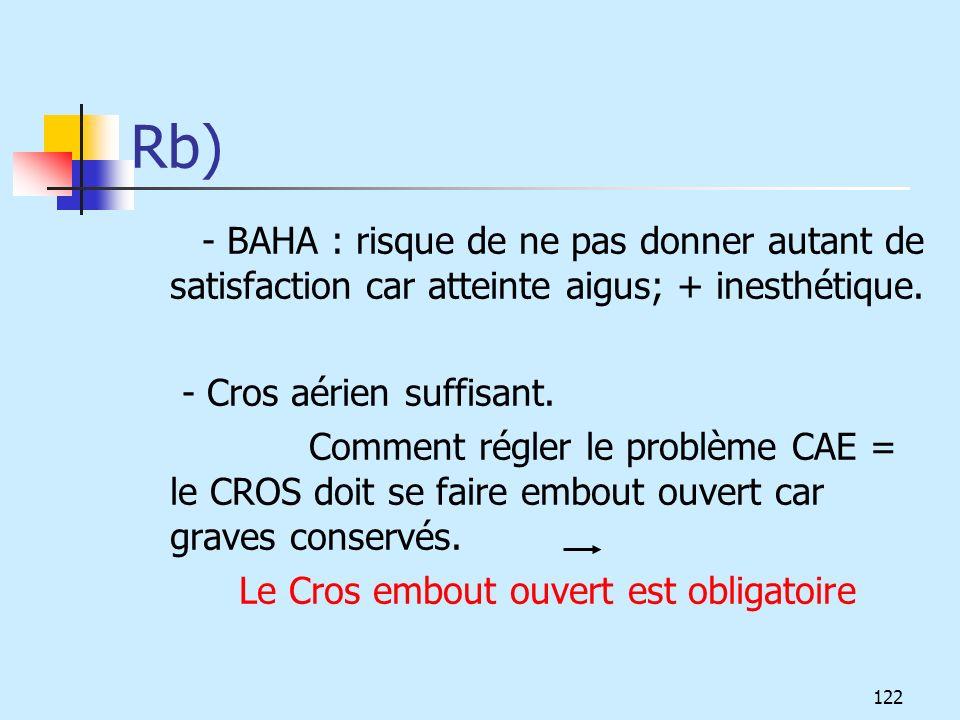Rb) - Cros aérien suffisant.