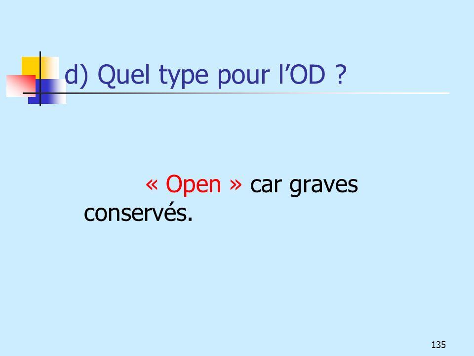 d) Quel type pour l'OD « Open » car graves conservés.
