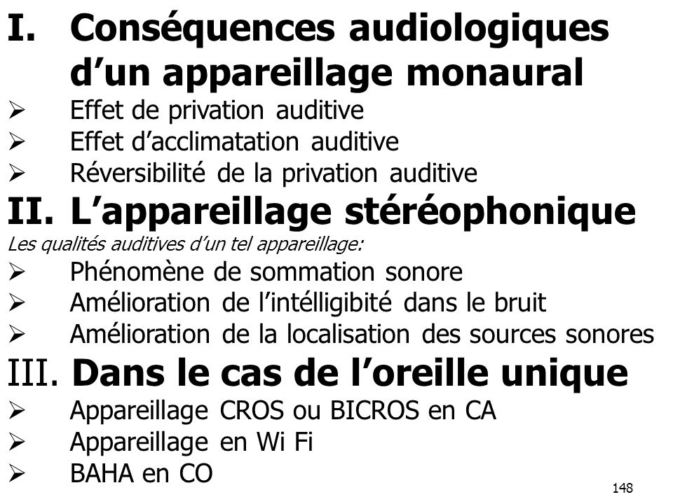 Conséquences audiologiques d'un appareillage monaural