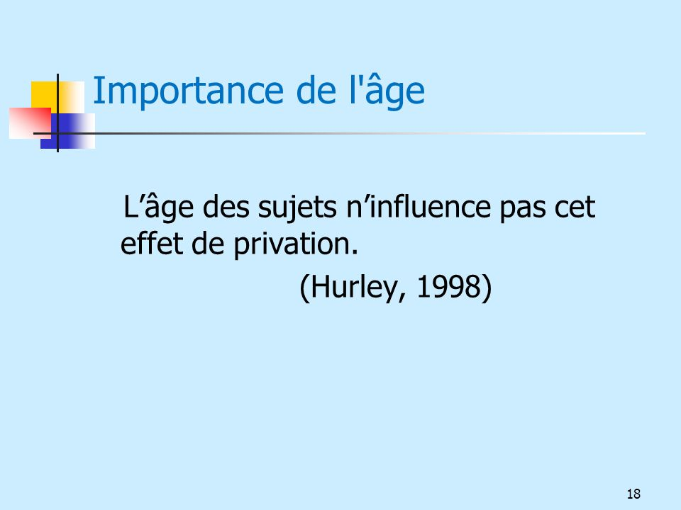 Importance de l âge L'âge des sujets n'influence pas cet effet de privation. (Hurley, 1998)