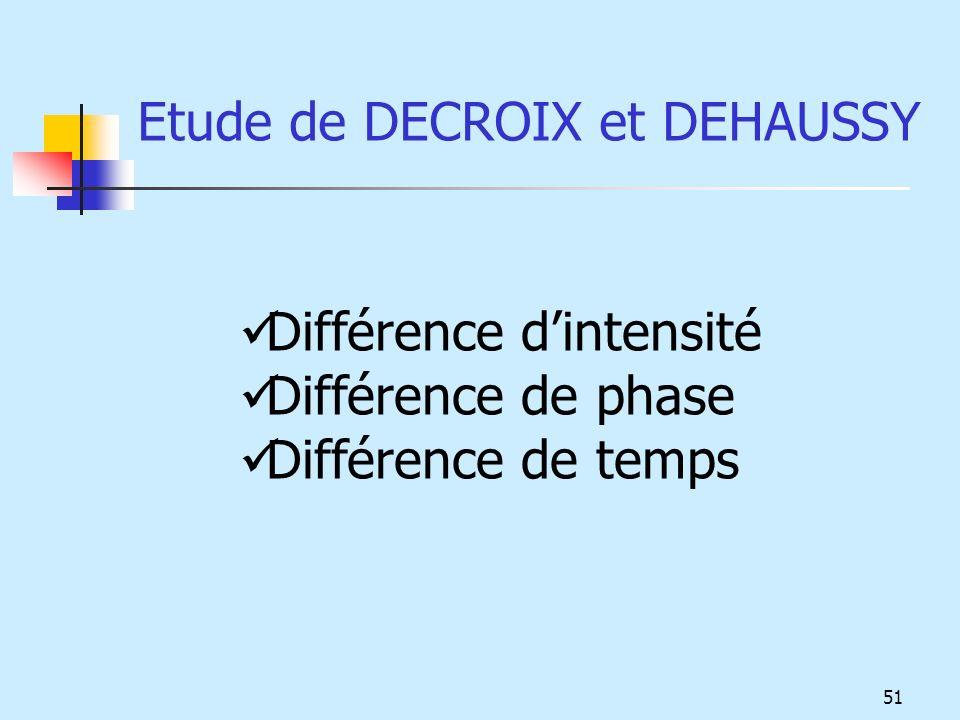 Etude de DECROIX et DEHAUSSY