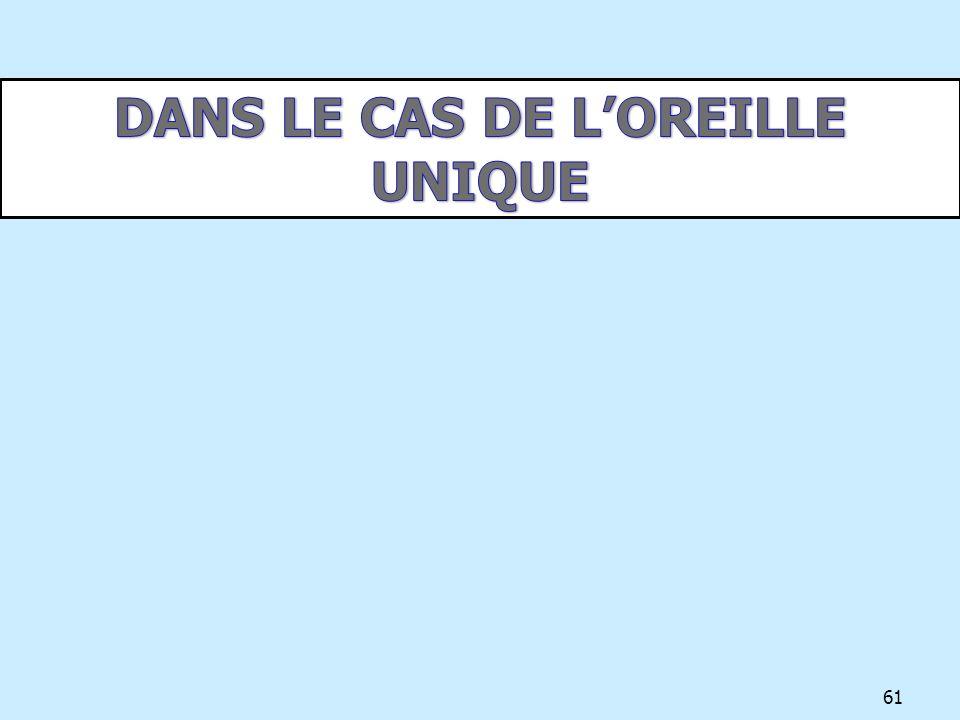DANS LE CAS DE L'OREILLE UNIQUE