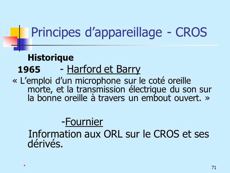 Principes d'appareillage - CROS