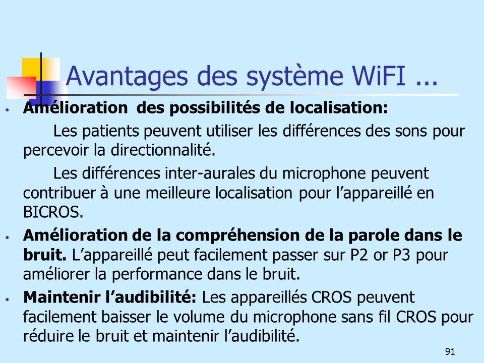 Avantages des système WiFI ...