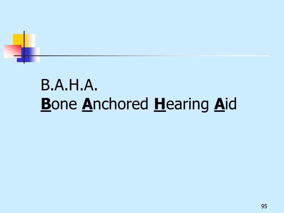 B.A.H.A. Bone Anchored Hearing Aid