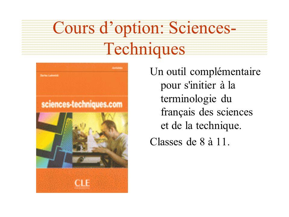 Cours d'option: Sciences-Techniques