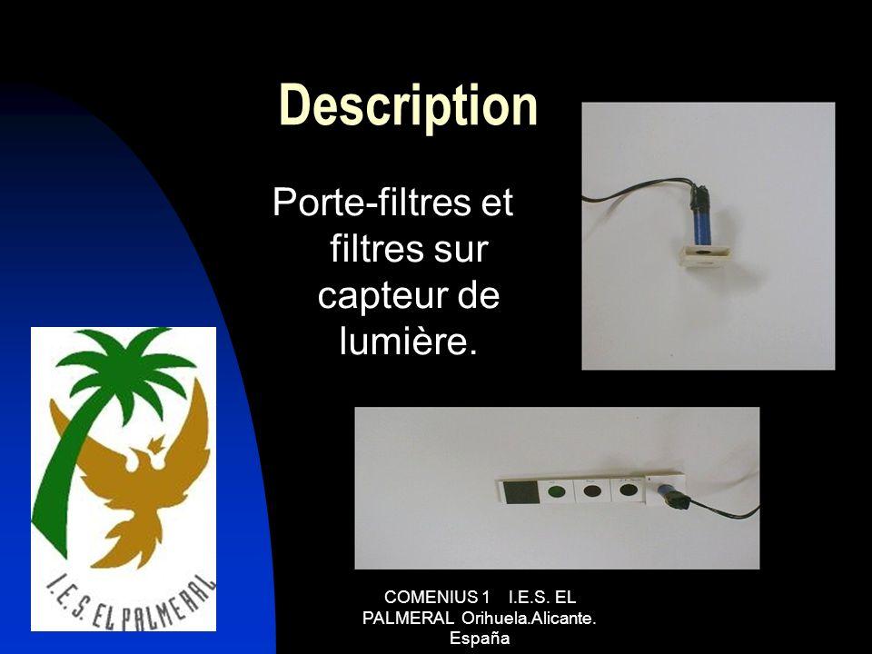 Description Porte-filtres et filtres sur capteur de lumière.