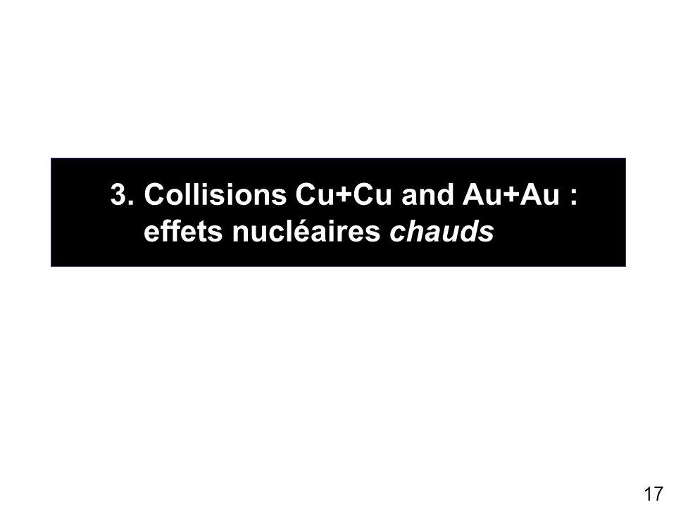 3. Collisions Cu+Cu and Au+Au : effets nucléaires chauds