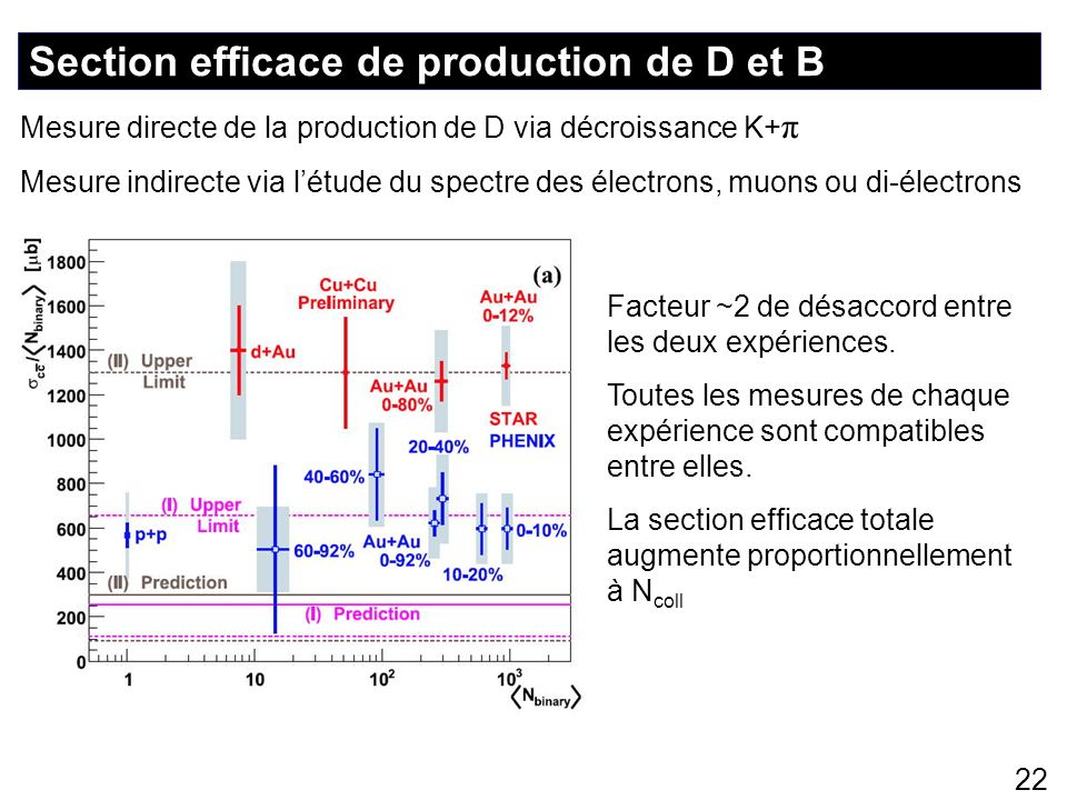 Section efficace de production de D et B
