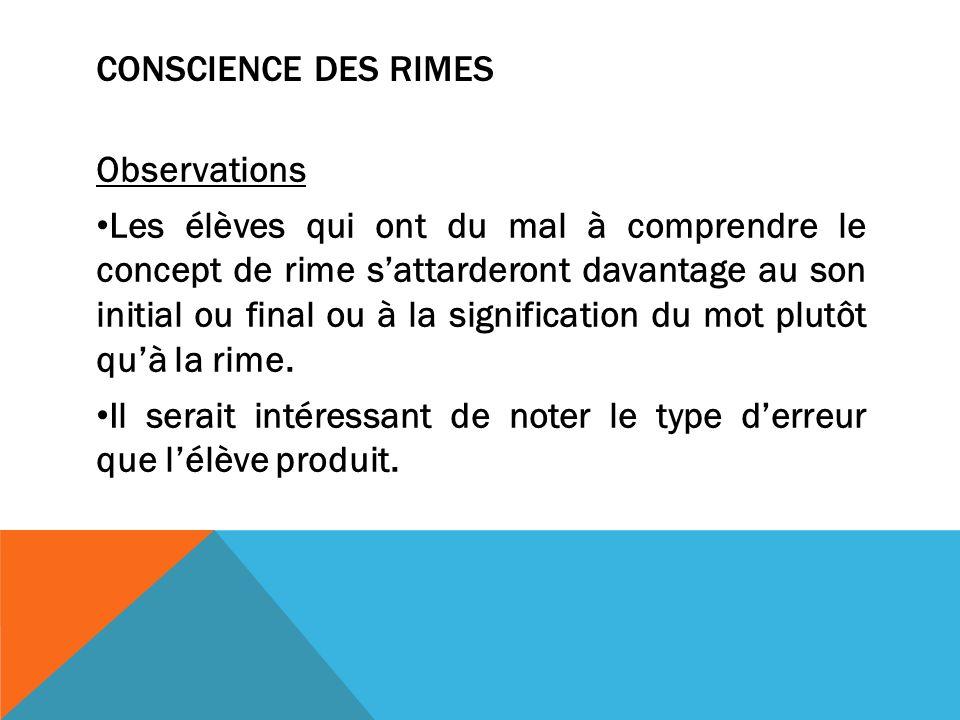 Conscience des rimes Observations.