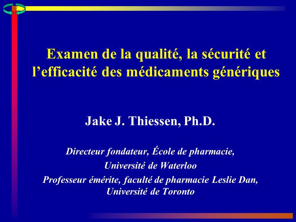 Directeur fondateur, École de pharmacie, Université de Waterloo