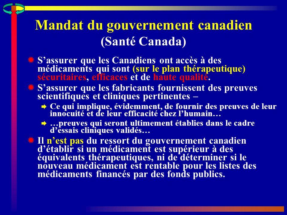 Mandat du gouvernement canadien (Santé Canada)